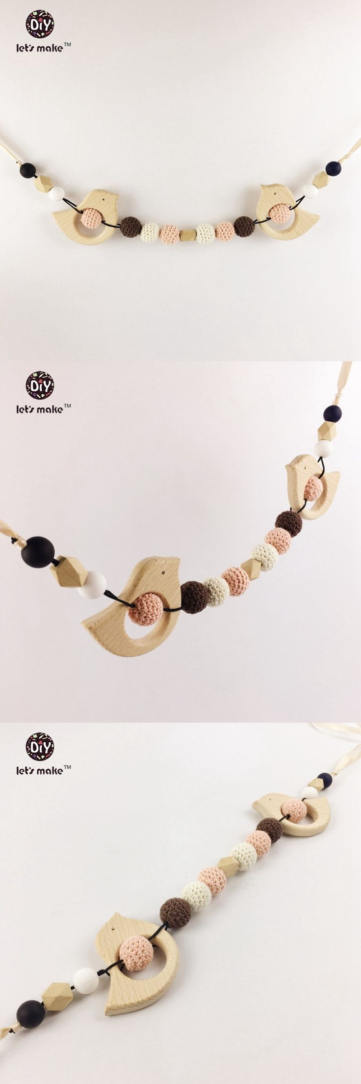 Stroller mobile crochet Beads baby mobile pram Woman Fashion chain Crochet baby toys for stroller Teething wooden baby toy