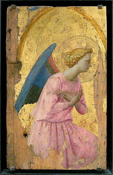 Fra Angélico, Angel en adoración, painting on wood or stucco.