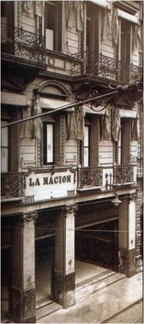 El edificio del diario La Nación, en su primitiva ubicación en la calle San Martín