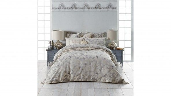 The Windemere Silver Quilt Cover Set uses a clever interplay of textures to create an elegant bedroom statement. Traditional-style floral motifs in ivory are woven into a silver velvet-look background with delustred effect. A self-flange trimmed with natural flat braid provides a tailored finish.