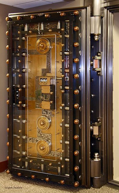 Open Bank vault door.