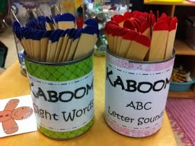Word Work: Read the stick, if they get it right, they get to keep the stick. If they get a Kaboom stick then they have to put all sticks back.