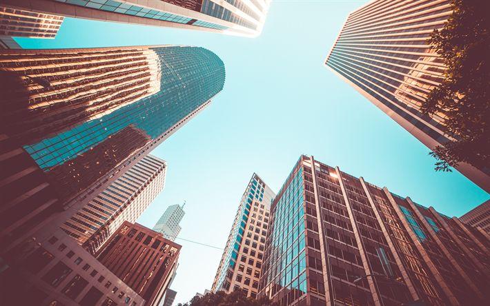 Lataa kuva pilvenpiirtäjiä, liikekeskukset, moderneja rakennuksia, lasi julkisivut, USA