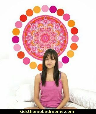 Boho Medallion and 36 Pink and Orange Wall Decals