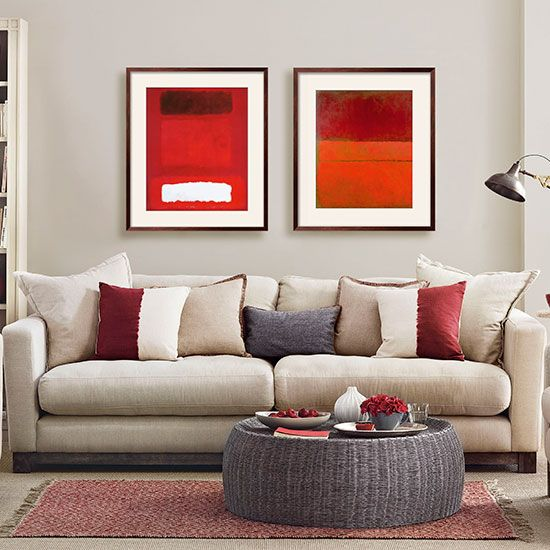 Mushroom grey and red living room | Living room decorating | Ideal Home | Housetohome.co.uk