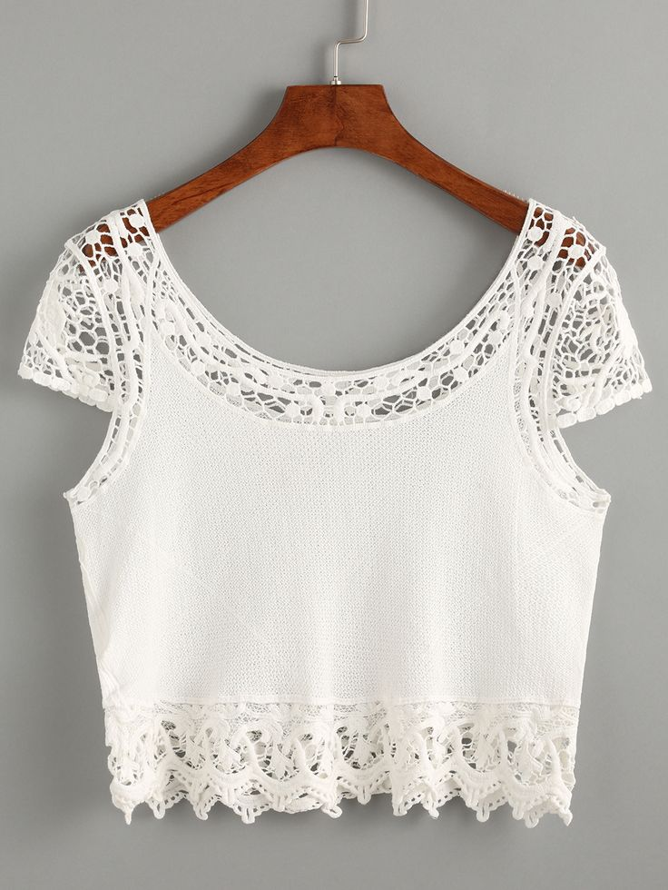 White+Crochet+Insert+Crop+Top+13.99