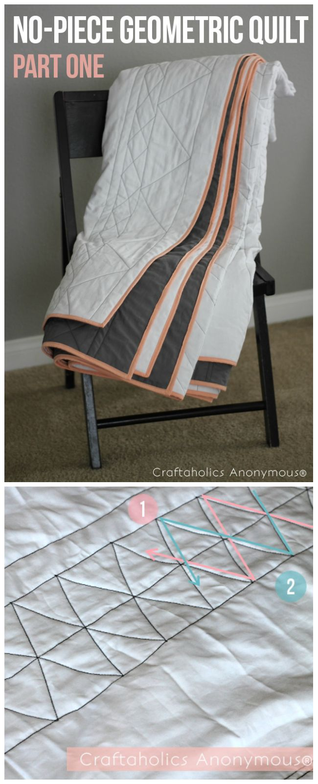 Geometric Quilt Tutorial. Easy, no-piece quilt. Makes a great first quilt or a fun weekend project! #quilt #pattern