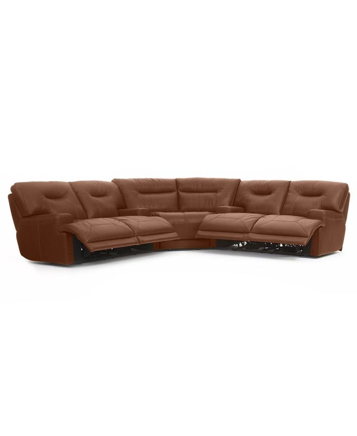 Ricardo Leather 3-Piece Power Reclining Sectional Sofa (2 ...