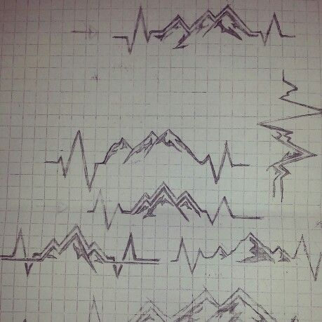 I drew these tattoo designs for a friend to chose from. She loves nature. it's a life line and mountains