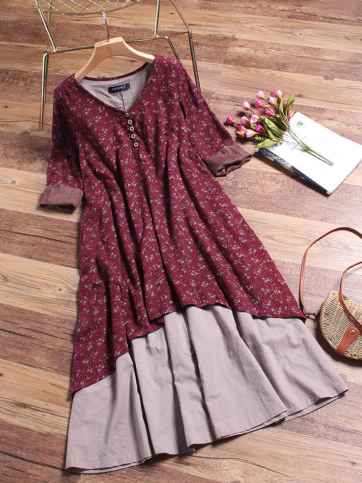 Floral Printed Two Layers Long Sleeve Vintage Dresses Online - NewChic