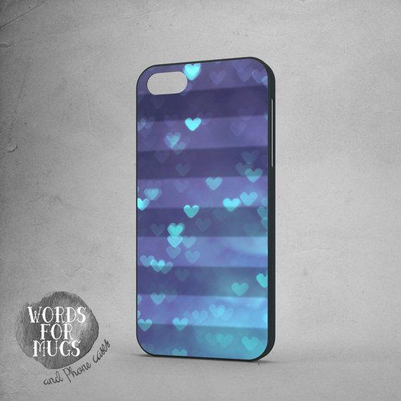 iPhone 5C case hearts blue by DeWadaSTORE