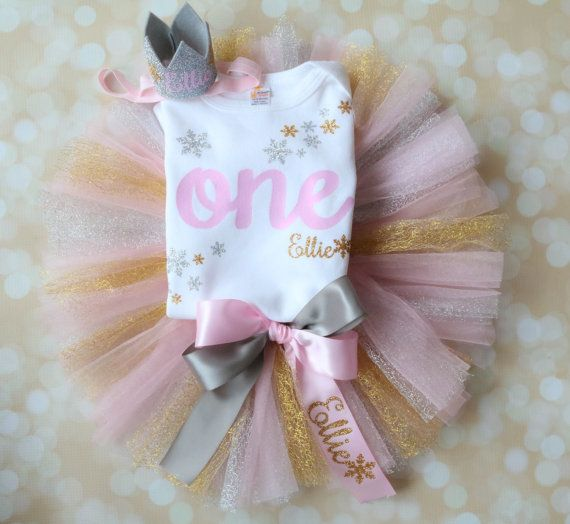 First Birthday Outfit - Winter Onederland - Gold, Silver, Pink - Snowflake Birthday - 1st Birthday Girl - Smash Cake Outfit - Personalized