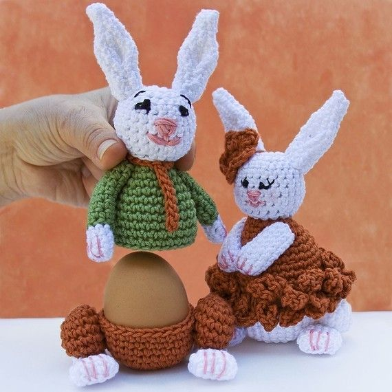 Bunnies Egg cozy warmer Crochet PATTERN von LeisureTreasure auf Etsy