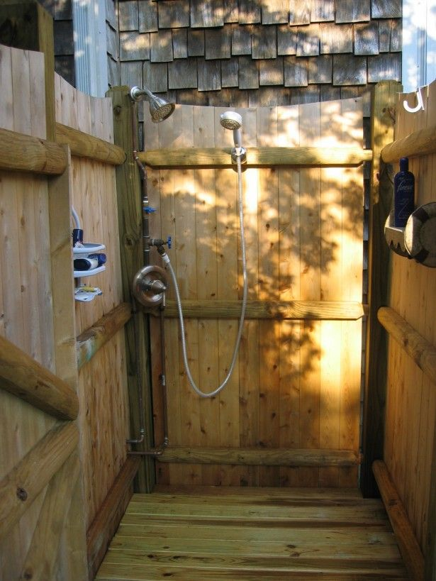 BathroomTraditional Outdoor Shower With Double Faucet And White Rubber Water Pipe Also