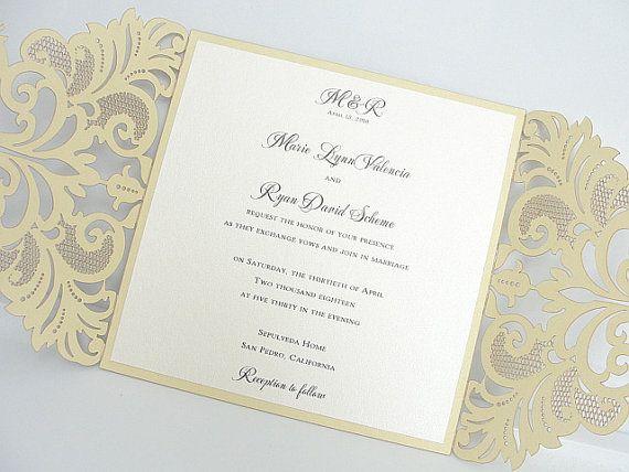 Wedding Invitation Laser Cut Wedding par LavenderPaperie1 sur Etsy