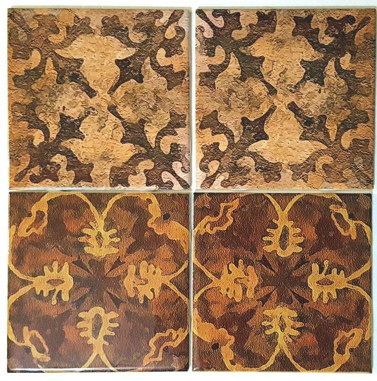 "Four Ceramic Back Splash Tiles Arts & Crafts Trivet Mediterranean Tan 4.25"" Set #ConniesCustomCreations #OldWorld"