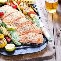 Sesame Regal Salmon Fillet with Barbecued Vegetables and Spinach Hummus