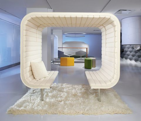 like the idea of compartmentalized seating and use of carpet to add texture  don't like the look of either pieces, but like the overall idea of how they created a seating space that is self-contained, but open