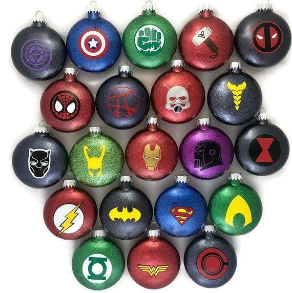 Super Hero Ornaments Super Hero Glitter Ornaments Avengers Ornaments Marvel Comics Ornaments Dc Comics Ornaments Super Hero Gifts In 2020 Superhero Christmas Christmas Ornaments Diy Kids Funny Christmas Ornaments Diy