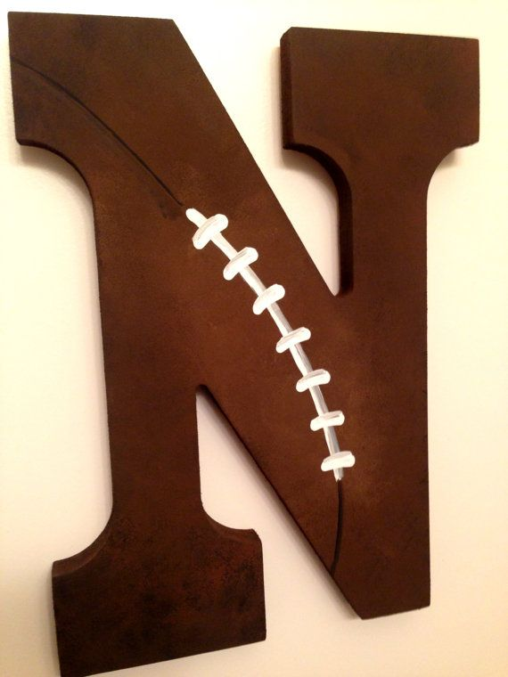Personalized Wooden Wall Letters for Kids' Rooms, Nursery, Toddler Room, Boy Room Vintage Football Antiqued Letters for all sports varsity baseball hockey soccer basketball by AllysCustomArt, $10.00