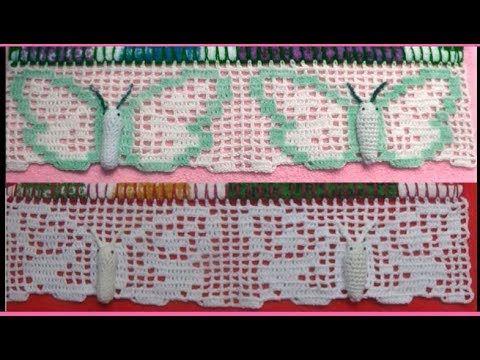 Barrado em crochê motivo borboleta passo a passo, Nesta vídeo aula você irá aprender a fazer um lindo barrado de borboleta em panos de pratos, ou para toalha...