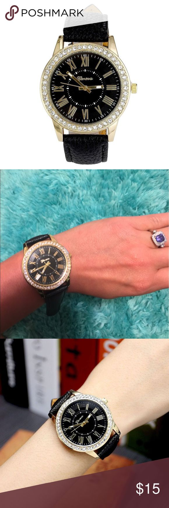 Black Leather Geneva Watch Add some bling to your wardrobe. Beautiful leather black Geneva watch that will go with anything. Jewelry