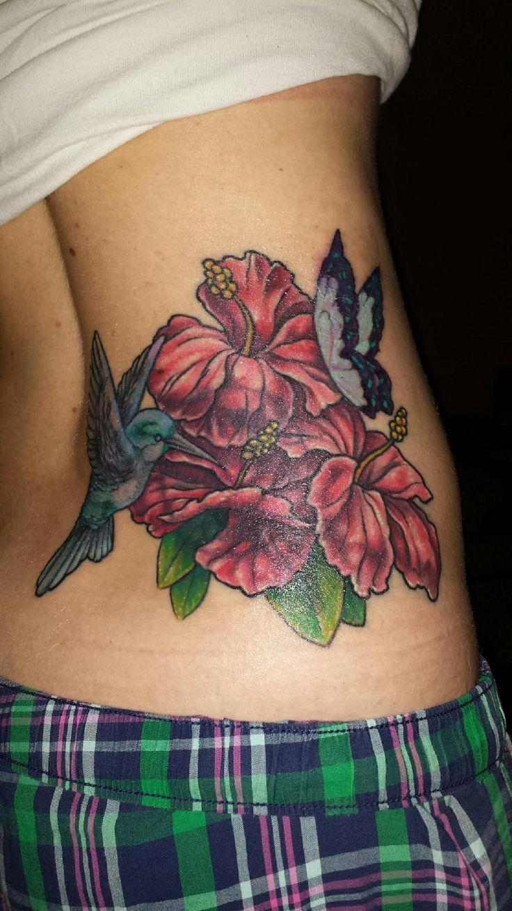 Love My Tattoo Artist!! ️ #coverup #hibiscus #hummingbird
