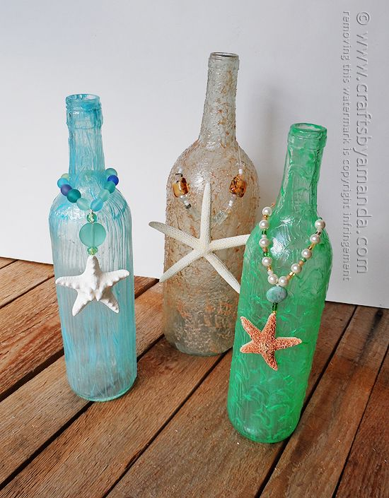 Wine bottle craft textured beach vase recipe beaches for What to make with empty wine bottles