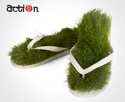 Now who wouldn't like to walk on grass, but what if we have slippers with grass on them? Weird!