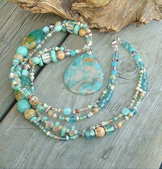 Boho Necklace Sundance Style Turquoise Artisan by | http://gemstonesgaston.blogspot.com