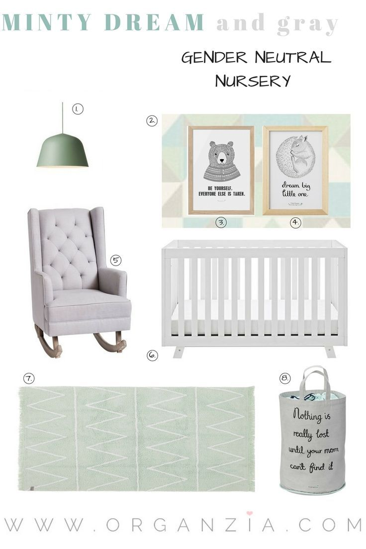 Cute mint and gray baby nursery inspiration. #babynursery #cutenursery #mintandgray #neutralnursery #nurseryinspiration