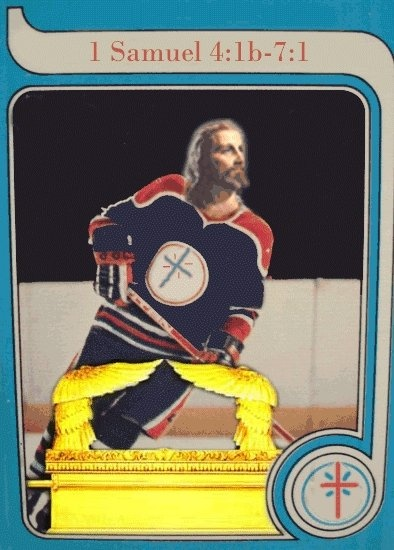 Jesus hockey card.