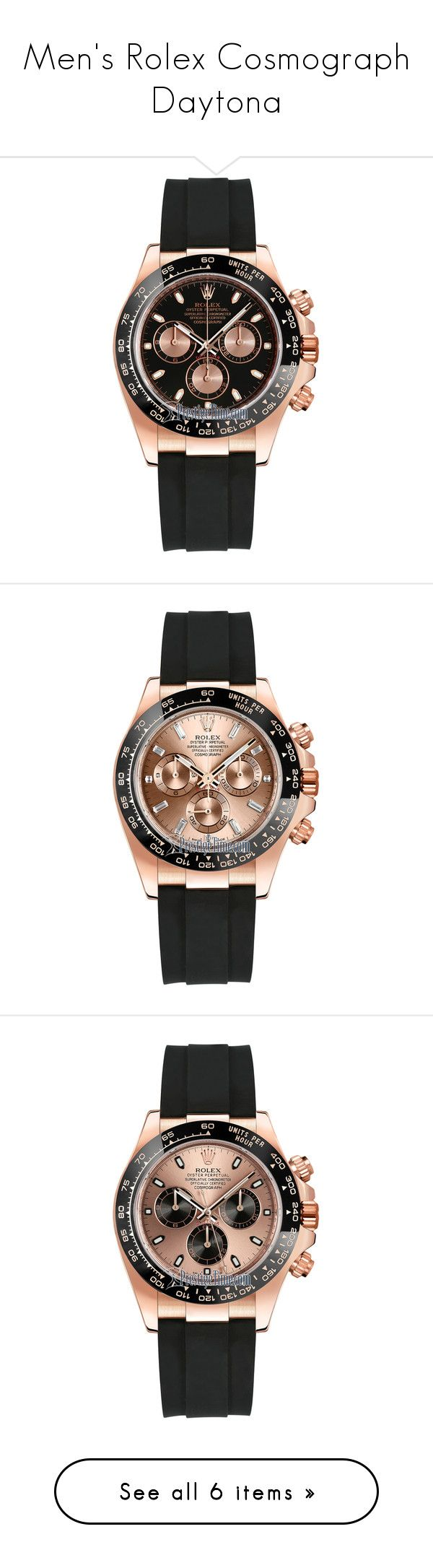 Men's Rolex Cosmograph Daytona by tattooedmind-17 on Polyvore featuring men's fashion, men's jewelry, men's watches, mens pink watches, mens gold watches, mens waterproof watches, rolex mens watches, mens white gold watches and mens stainless steel watches