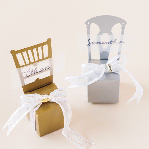 Transform your wedding into a gilded affair with these multifunctional place card holders.