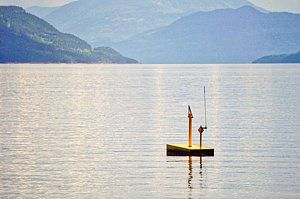 Photograph - Yellow Buoy On Blue Water by Kim Grosz