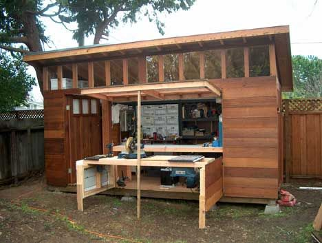 shed with indoor/outdoor table Portable storage buildings: some of these could be used for art studios. So many of these shed designs could make excellent affordable art studio space.