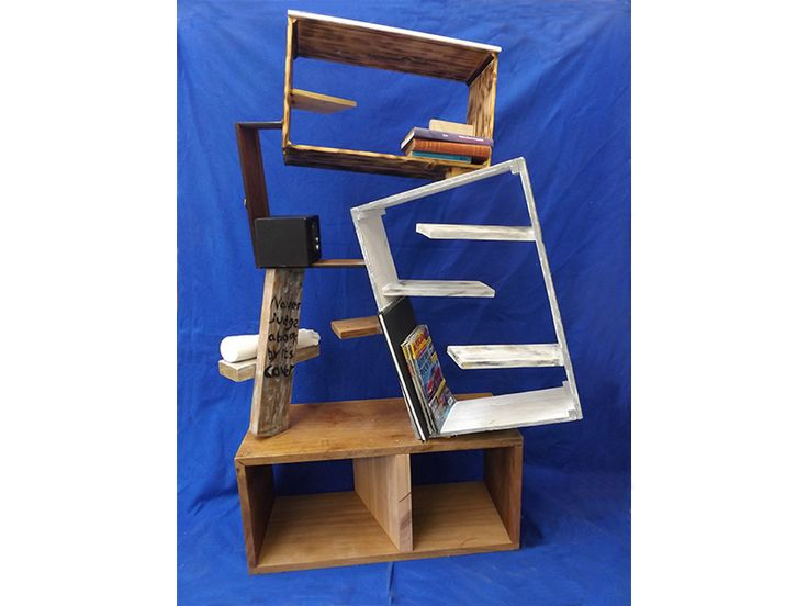 3d bookcase made from draws, pallets and a laboratory work top