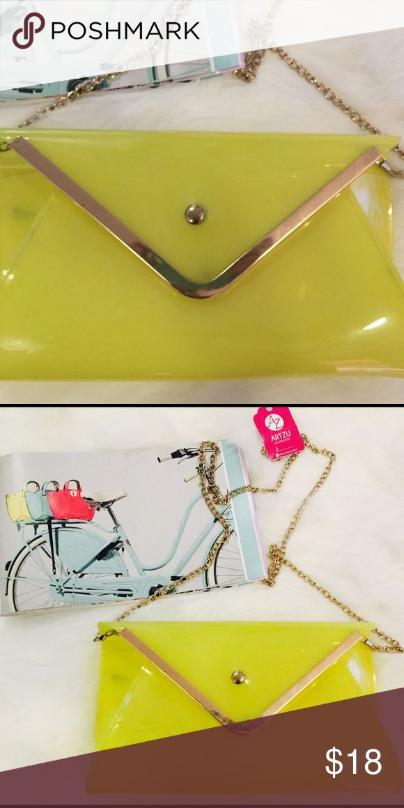 👛👠👗❄️🎁Transparent Yellow Clutch 💄💕👗👠 👛👠👗❄️🎁Transparent Yellow Clutch 💄💕👗👠 Bags Clutches & Wristlets