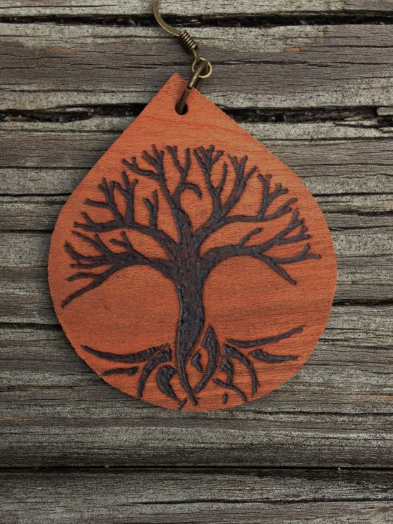 Tree Of Life Wood Burned Earrings by downtoearthcraft on Etsy