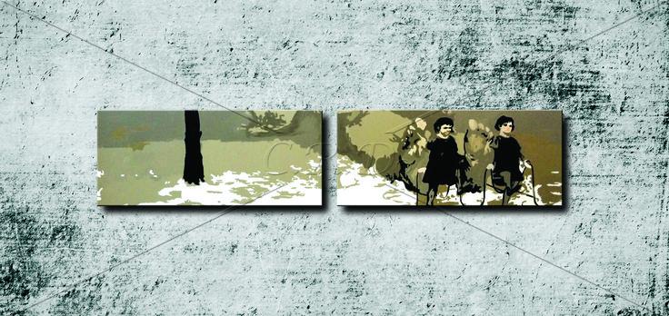 Benim Masalım / My Tale '' Sol/Left: 60×150 cm  Sağ/Right: 60×150 cm    Teknik: Akrilik Boya - Technique: Acrylic Paint ''