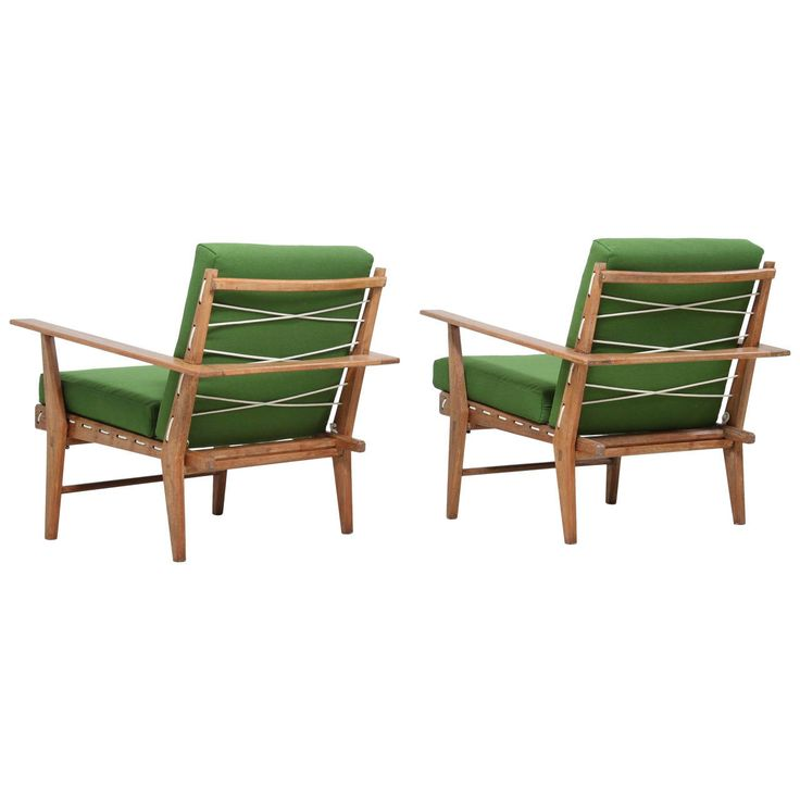 Pair of Italian 1950s Rope Chairs in Solid Teak | From a unique collection of antique and modern armchairs at https://www.1stdibs.com/furniture/seating/armchairs/