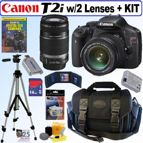 cmos apsc digital slr camera with efs 1855mm f3556 is lens u0026 efs 55250mm f4056 is telephoto zoom lens 16gb deluxe accessory kit by canon
