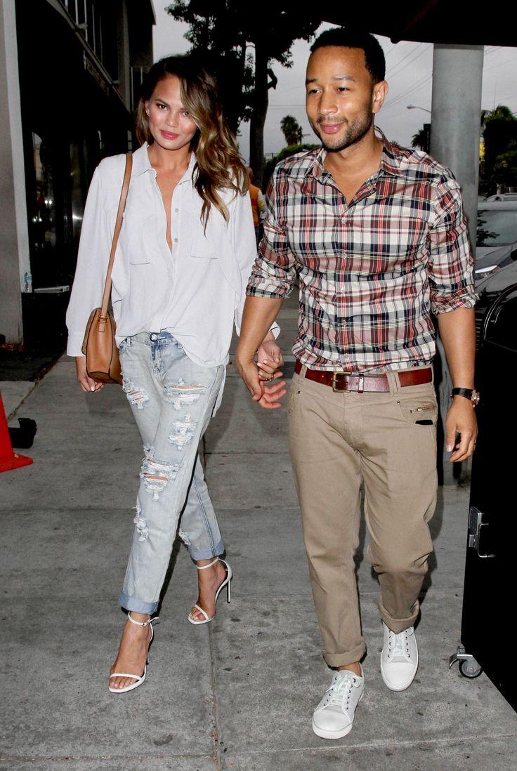 Chrissy Teigen's Ultra Polished Way to Style Ripped Boyfriend Jeans