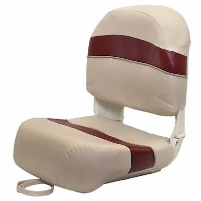 TEMPRESS DELUXE TAN / BURGUNDY FOLDING BASS FISHING BOAT SEAT WITH CUSHIONS