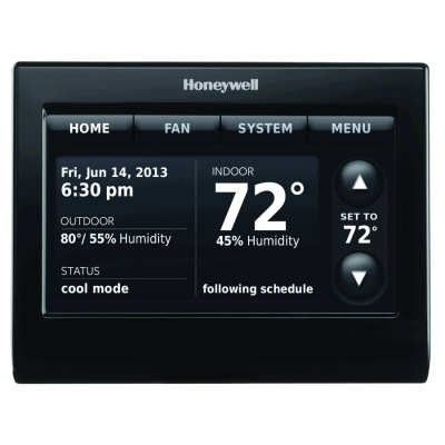 HONEYWELL TH9320WFV6007 VOICE CONTROL WIFI 9000 COLOR TOUCHSCREEN THERMOSTAT BLACK | Wifi. House fan. Outdoor settings