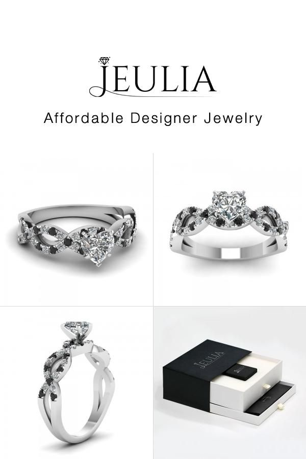 jeulia jeulia heart shaped engagement ring under 100 with black diamon discover more stunning - Wedding Rings Under 100