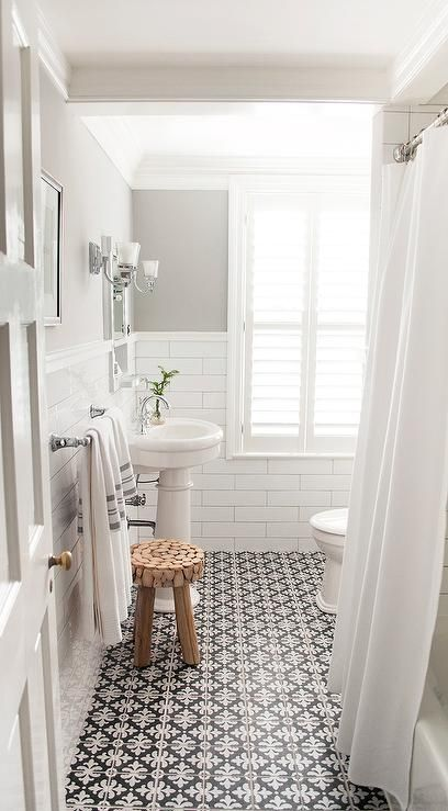gray-paint-colors-oval-pedestal-sink-black-and-white-bathroom-floor-tiles