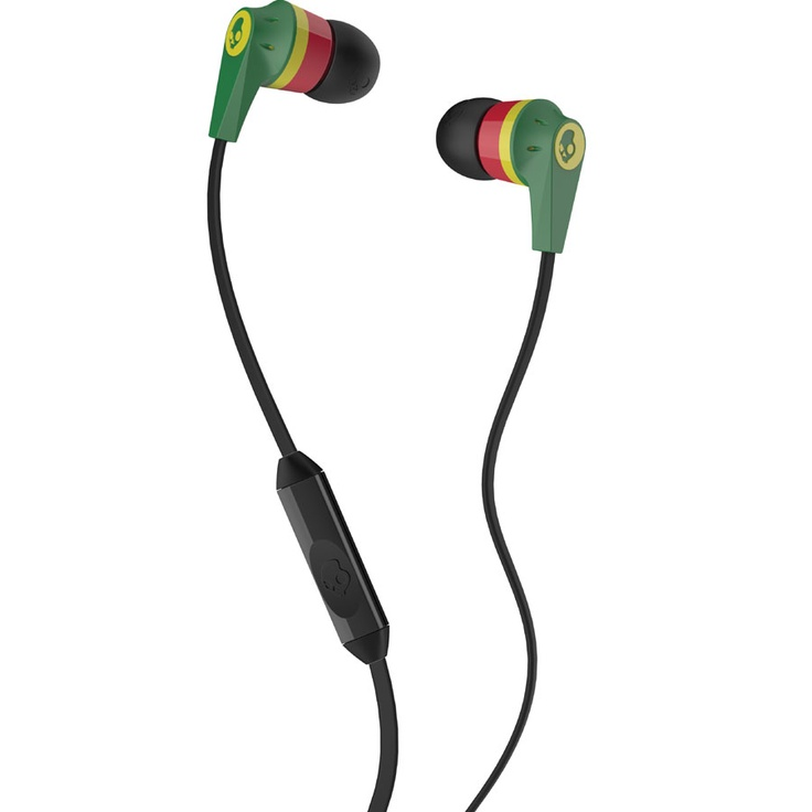Skullcandy Supreme Sound Inkd Earbuds with Mic in a rasta color