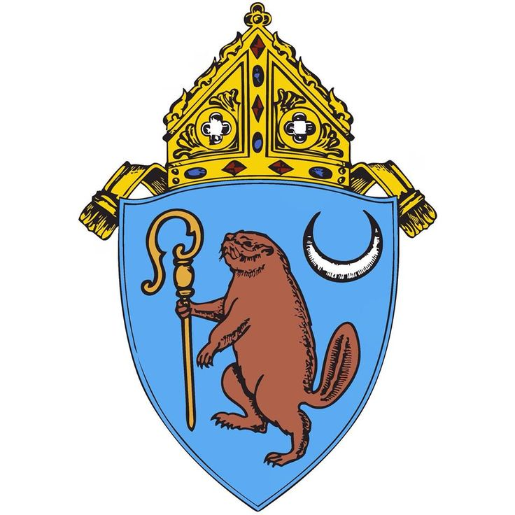 """The Diocese of Albany's coat of arms. The beaver represents Albany, which was once known as """"Beverwyck,"""" or """"Beaver Town."""" The crosier symbolizes the rank of bishop, and the crescent moon represents the Blessed Mother, patroness of the Diocese under the title of the Immaculate Conception."""