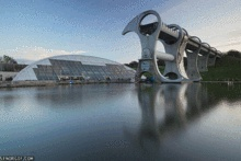 the Falkirk Wheel, Scotland, UK, 2002.  So cool. Reconnects the canals of Glasgow with Edinburgh, replacing 11 water locks built in the 30's.